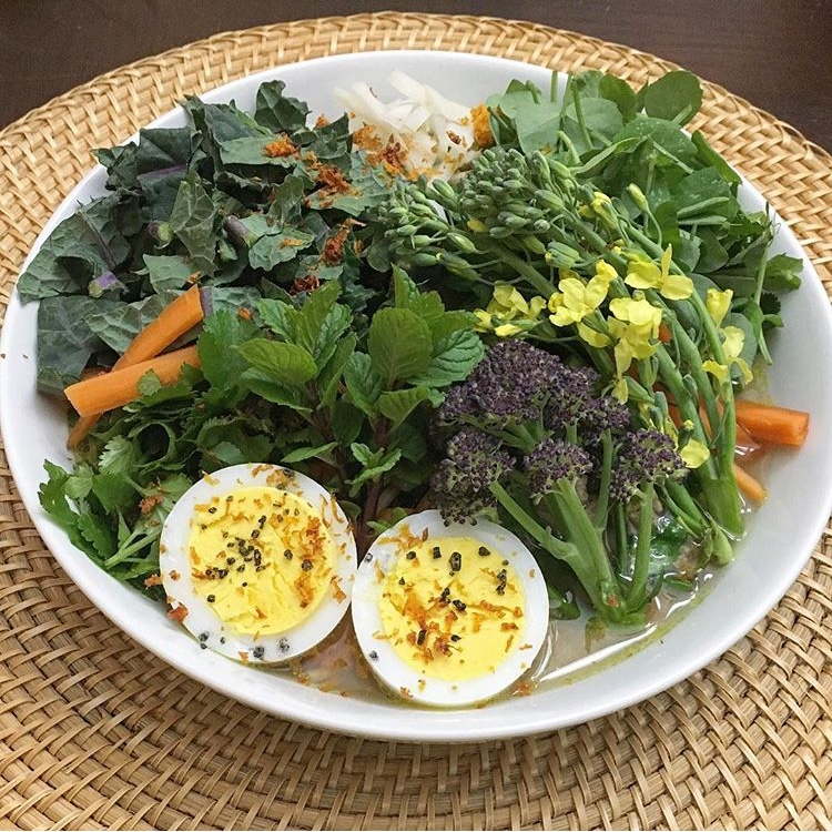 A typical spring dinner for us at Tyrant Farms. Asian-inspired ramen with a wide variety of garden-fresh, organically grown veggies and duck eggs.