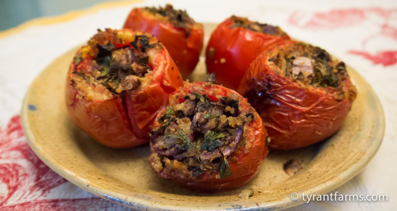 Stuffed organic, homegrown tomatoes wood-fired to smoky perfection.