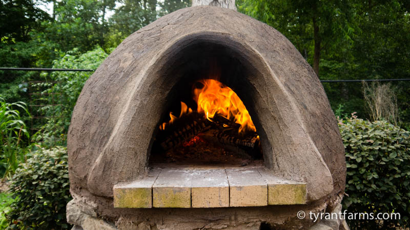 This is as large a fire as you'd possibly want to warm your cob oven. You want a medium sized fire constantly burning, not a huge fire with flames billowing out of the front.