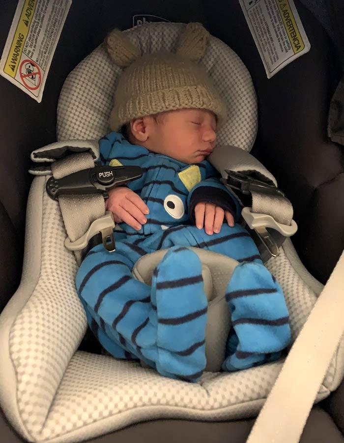 Sebastian after his first car ride.