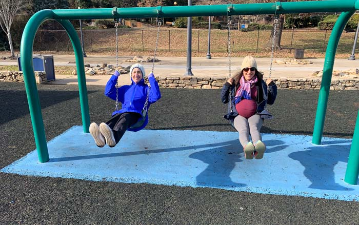 Kids being kids. Lisa and Susan trying to determine whether swinging induces spontaneous labor. Answer: no. n=1