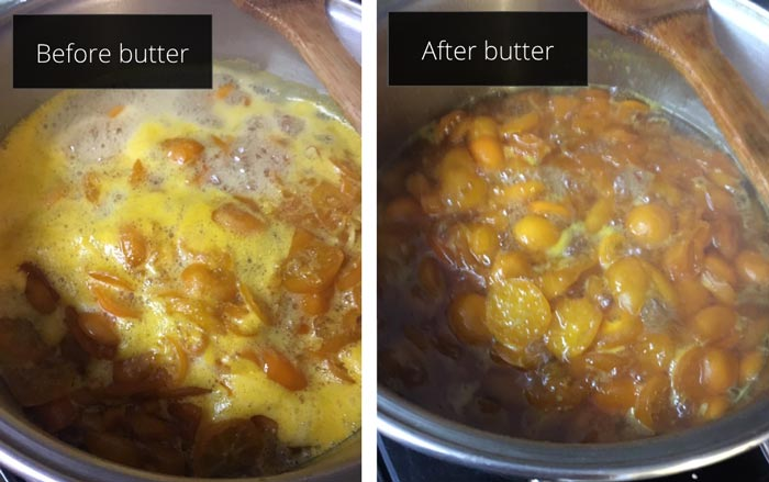 Adding butter while cooking your calamondin marmalade (or other preserves), breaks the surface tension allowing the particles to reincorporate into the marmalade.