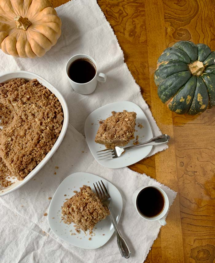 Pumpkins, apples, and walnuts combine to make this delicious fall harvest coffee cake.