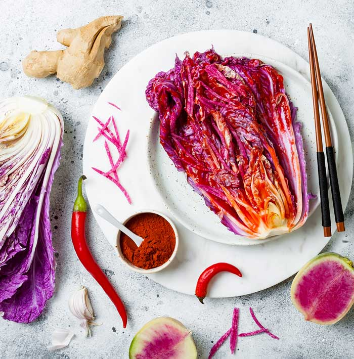 Whole foods like this anthocyanin-rich napa are great building blocks for kimchi, which is amazing for your gut health.