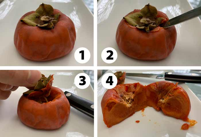 Images showing you how to extract the pulp (and leave the skin) from an overripe Japanese persimmon. Cut the top off like a jack-o-lantern, then scoop or squeeze out the pulp.