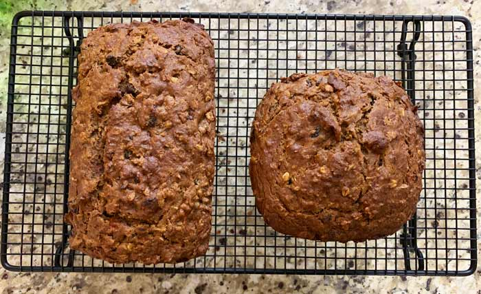 Persimmon bread on a cooling rack.