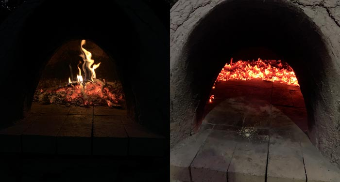 Left: The fire and coal pile inside the cob oven BEFORE we started cooking. Right: The interior oven now ready to cook. I used a metal hoe to scrape the coals to the back and outside walls, clearing off the cooking surface. To clean off the residual ash on the cooking surface, you can either use a clean, damp mop or (what I prefer) a very quick sweep of the surface with a thick oven mitt.