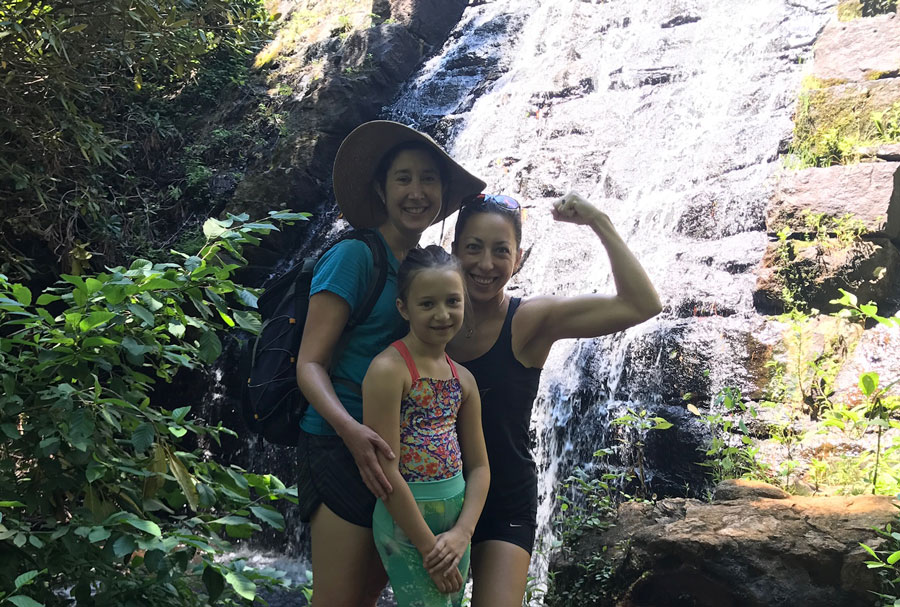 Lisa (left), Susan the Tyrant (right), and niece enjoying a summer hike in Greenville.