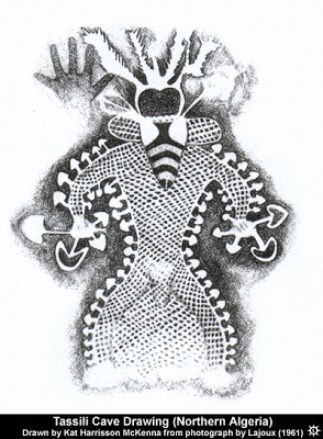 """A rendering of ancient cave art depicting the """"Algerian Tassili mushroom shaman,"""" 6,000-9,000 B.C.E. in Tassili - Ajjer (Sahara Desert). Psychedelic mushrooms appear in early human art, monuments, and carvings around the world. Psychedelics"""