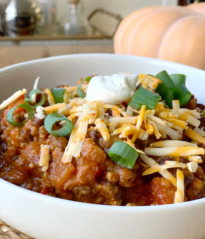 Pumpkin chili with ground turkey and black beans