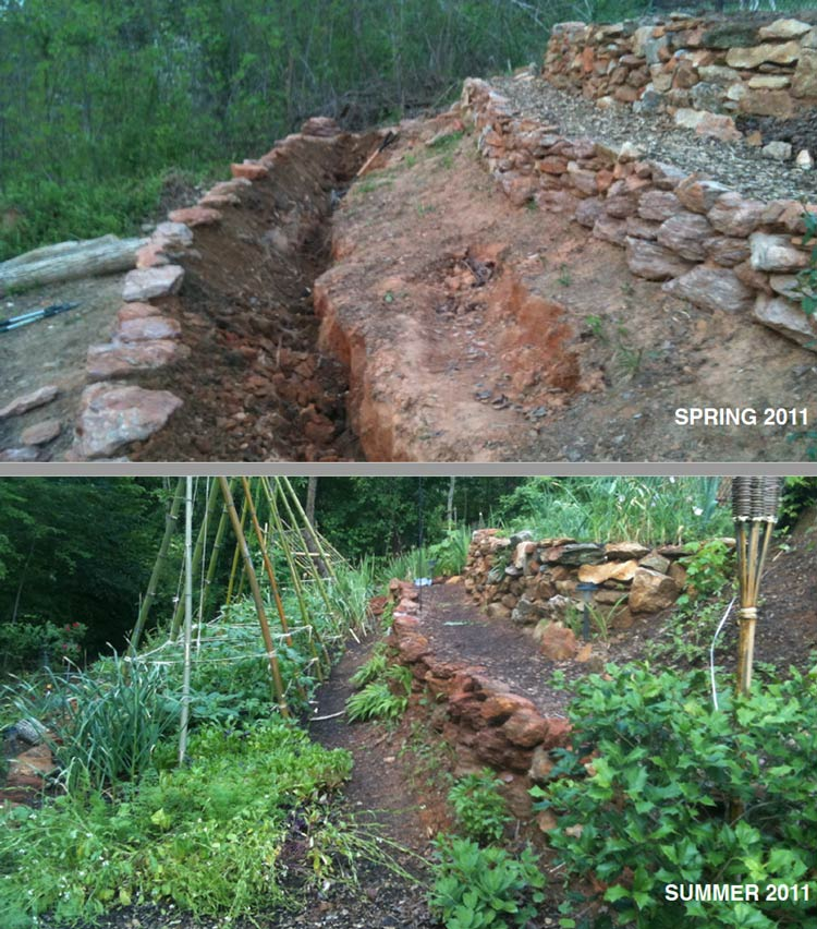 The back of our property was a steep hill covered with poison ivy and kudzu. We found a nearby construction site that was getting rid of piles of native stone from the land they graded. We