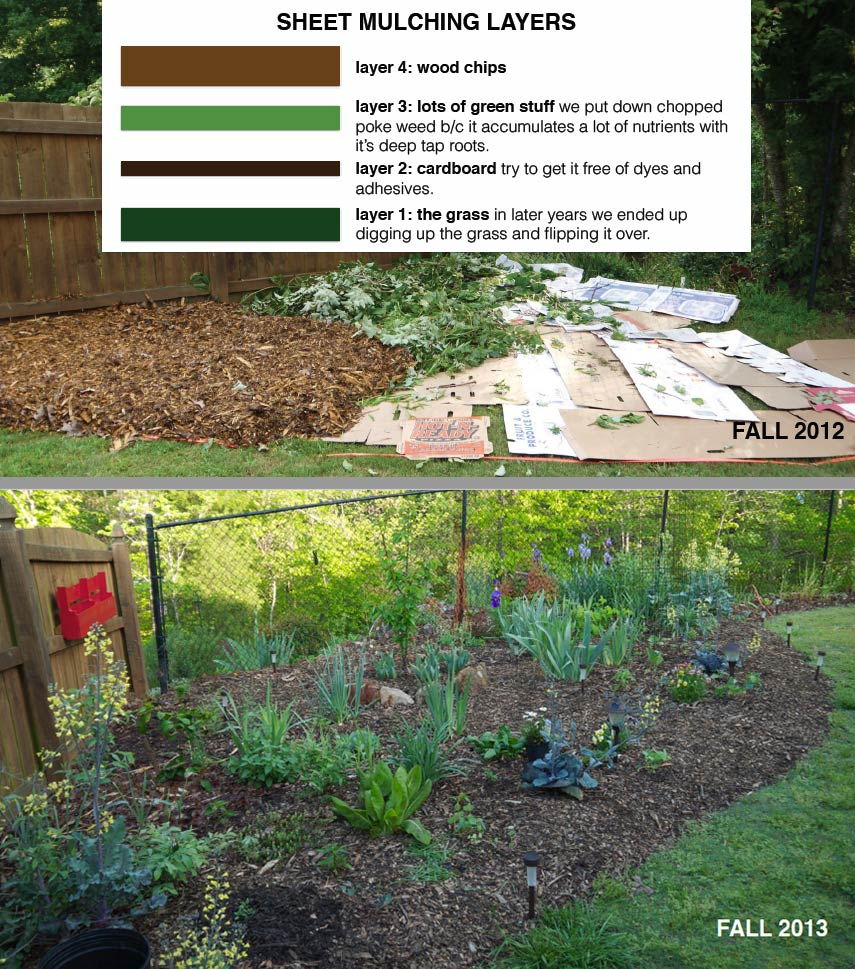 One year after we finished the garden beds at the very back of our property, we started converting new parts of our yard to edible garden beds. Here you can see the sheet-mulching method we use to convert grass to garden. How to start a garden by Tyrant Farms.