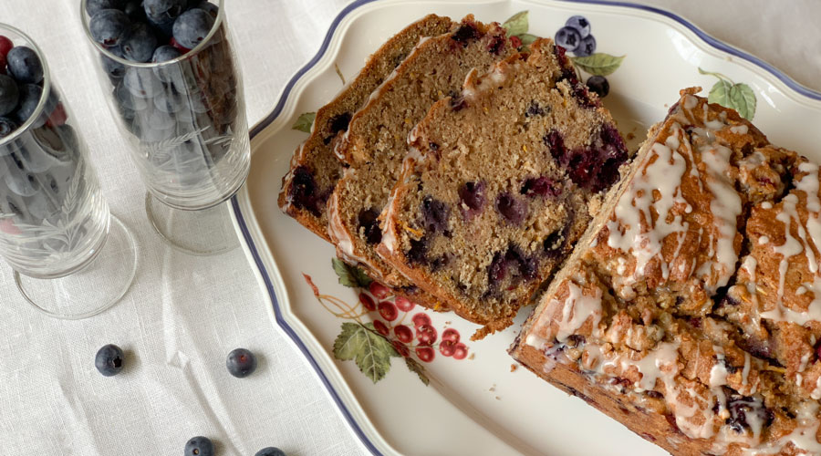 Healthy summer breakfast bread with whole wheat flour, zucchini, and fresh berries  thumbnail