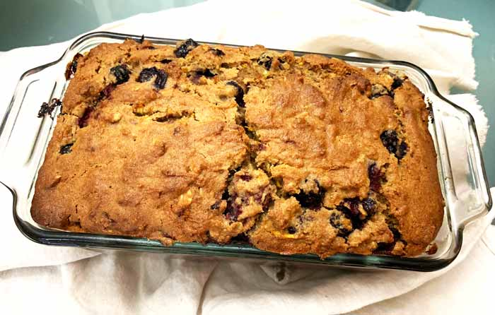 Summer breakfast bread out of the oven and cooled for 15 minutes.