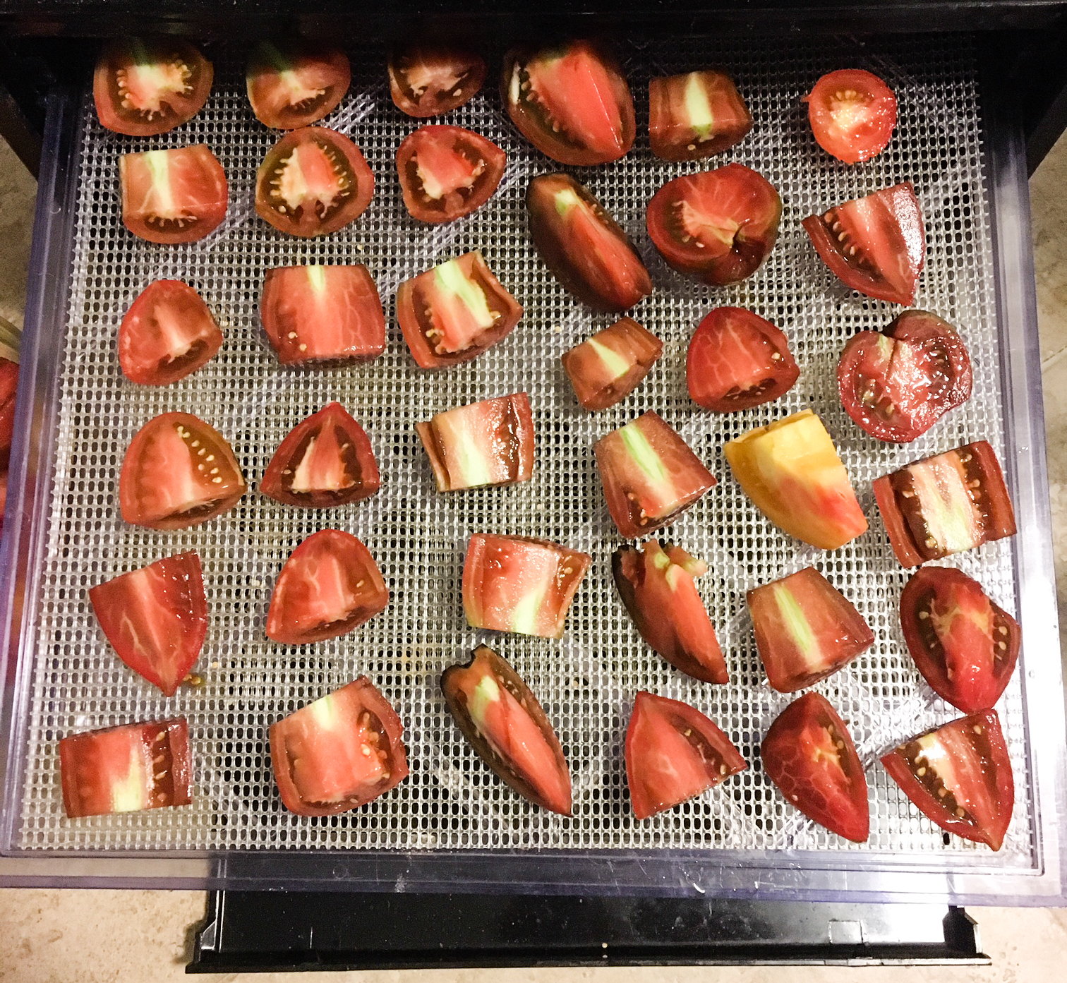 One rack of tomatoes before dehydration. What percent of a tomato is water weight?