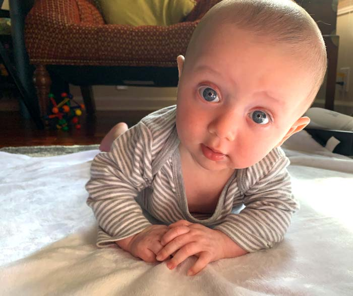 Sebastian enduring another tummy time session. Tummy time has never been his favorite thing, but we all suffer through.