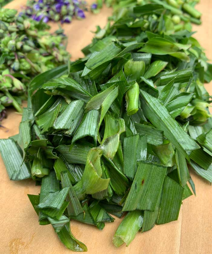 Tradescantia virginiana leaves chopped and ready to cook.
