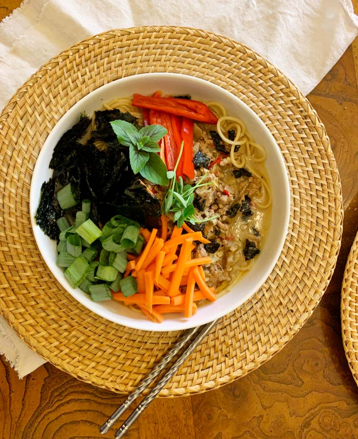 Yum! Umbrella polypore ramen noodle soup with fresh veggies. Asian soups are the perfect way to use this type of mushroom.