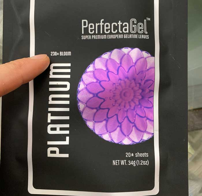 You'll want to use a high quality gelatin. We like PerfectGel Platinum Gelatin sheets, which is the only platinum level gelatin product available in the US. It has a 230 bloom (the highest bloom strength available).